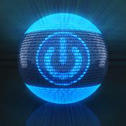 Power sign on globe formed by binary code Stock Illustration