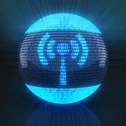 Wifi symbol on globe formed by binary code - stock illustration