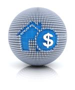 Home mortgage icon on globe formed by dollar sign, 3d render Stock Illustration