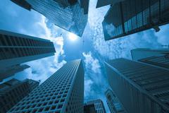 Modern buildings in a city, blue tone Stock Photos