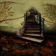Stairway with Chains - stock illustration