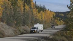 Road Workers Utility Camp Trailer and Pickup on Cassiar Hwy Canada - stock footage