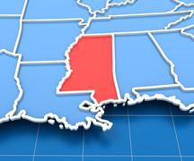 3d render of USA map with Mississippi state highlighted Stock Illustration