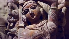 Sandstone sculptures of a Jain temple, India Stock Footage