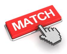 Clicking a match button - stock illustration