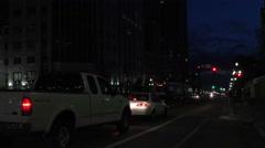 Night downtown Salt Lake City traffic 4K Stock Footage