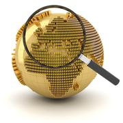 Globe with magnifying glass, economy outlook concept - stock illustration