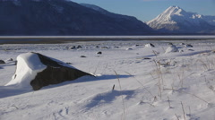 Snowy Chilkat Tidal Flats in Sunny Windy Winter Scenic 4K Stock Footage