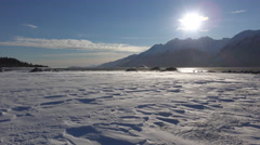 Spindrift Blowing Across Wintry Snowy Tidal Flats Haines Alaska Sunn Stock Footage