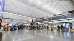 Hong Kong Airport. Departure hall with shopping area Stock Footage