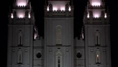 Night Salt Lake City Mormon Temple zoom out 4K Stock Footage