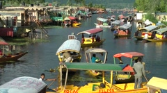 Houseboats and many shikaras on Dal Lake,Srinagar,Kashmir,India Stock Footage