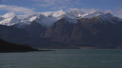 Termination Dust on Chilkat Mountains over Letnikof Cove Scenic Alas Stock Footage