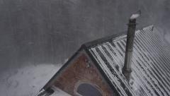 Windstorm Blizzard Rooftop Chimney in Alaska Winter Cabin Aerial Stock Footage