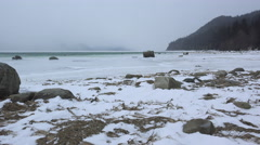 Winter Storm Desolation Chilkat River North Pan Left 4K Stock Footage