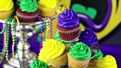 Table decorated for Mardi Gras party. Stock Footage