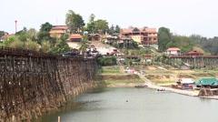 Wooden bridge in Sangkhlaburi Kanchanaburi Thailand. Stock Footage