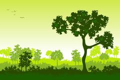green landscape - stock illustration