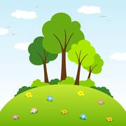 Trees on a hill Stock Illustration