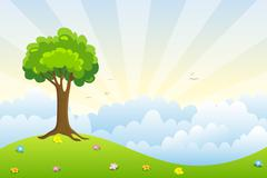 lonely tree in the mountains - stock illustration