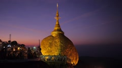Golden Rock at sunrise,Kyaiktiyo,Burma Stock Footage