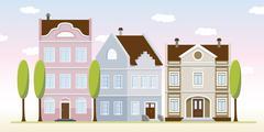 old town - stock illustration