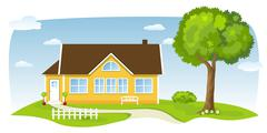 charming country cottage - stock illustration