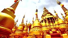 HD Panning : Pagoda in Wat-Sawangboon at Saraburi, Thailand, HD 1080P Stock Footage