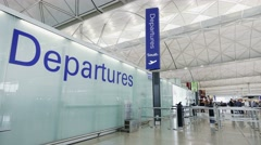 Departure gate of the Hong Kong International Airport. Stock Footage