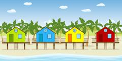 Colorful houses on the beach Stock Illustration
