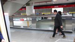 Train door is closing, travel in the metro the Jiantan train station, Taipei-Dan - stock footage