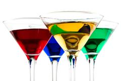Close up of color cocktails in martini glasses Stock Photos