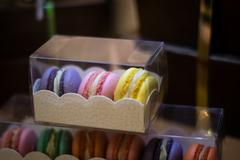 mini cakes in a box - stock photo