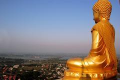 Golden Buddha overlooking Nakhon Sawan ,Thailand Stock Photos