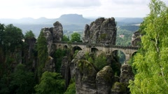 Bastei Monumental Rock Bridge in Saxony - stock footage