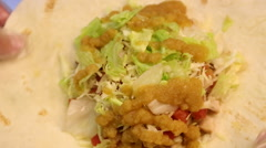 Chef is cooking Mexican food in restaurant, cook tacos and quesadillas-Dan - stock footage