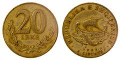Old coin of albania Stock Photos