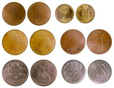 Different old portuguese coins Stock Photos