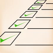 Business goals checklist with green markers, lines and unchecked checkbox Stock Illustration