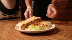 waitress serving delicious Mexican food in restaurant, tacos and quesadillas-Dan - stock footage