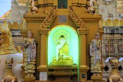 Buddha Statues at Shwedagon, Yangon, Burma Stock Photos