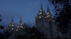 Salt Lake City LDS Mormon Temple night 4K Stock Footage