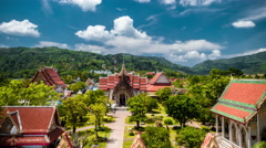4K TimeLapse - Clouds over the Wat Chalong temple Stock Footage