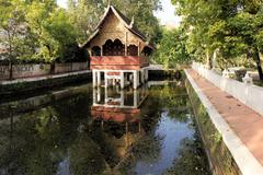 Thai style traditional wooden house - stock photo