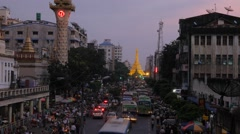 Timelapse in evening at road to Sule Paya,Yangon,Burma Stock Footage