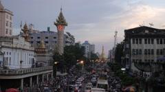 Timelapse at road to Sule Paya,Yangon,Burma Stock Footage
