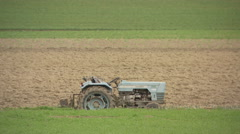 SWITZERLAND old tractor sleep in field Stock Footage