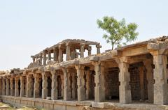 Ruins of Ancient Hindu civilization, Hampi, India Stock Photos