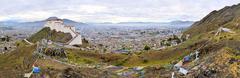 Shigatse Monastery Panorama in Tibet Stock Photos