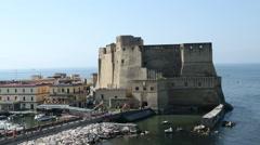 Fort on coast Naples, Italy Stock Footage